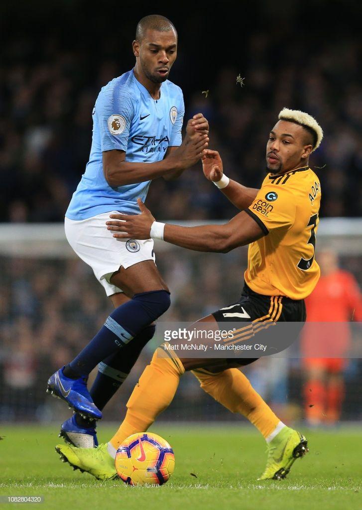Fernandinho Of Manchester City Battles With Adama Traore Of Manchester City Manchester Premier League Matches