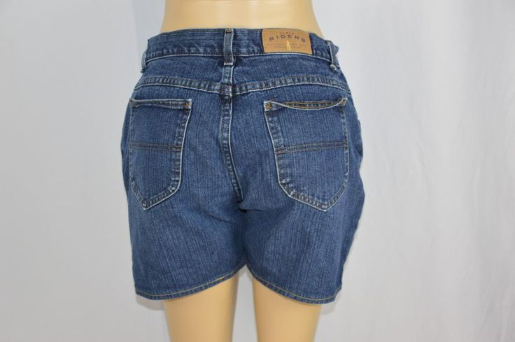 Riders Womens 14 Dark Wash Blue Jean Shorts Mid Rise #Riders #CasualShorts