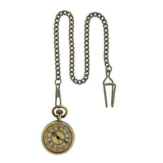 Vintage inspired cream colored open face with roman numeral antique brass finish pocket watch. Japan movement, adjustable/detachable chain with clip, front case is made of scratch resistant glass. Cla