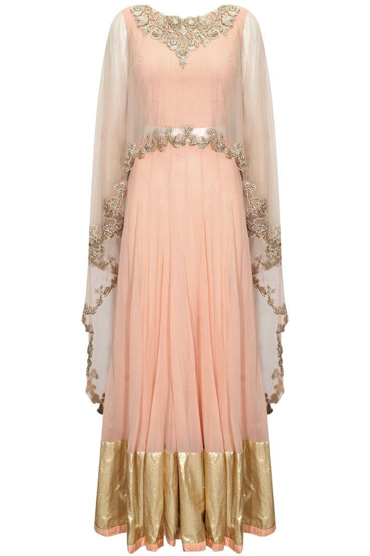 Pink embroidered asymmetric cape blouse with gold border lehenga available only at Pernia's Pop-Up Shop.