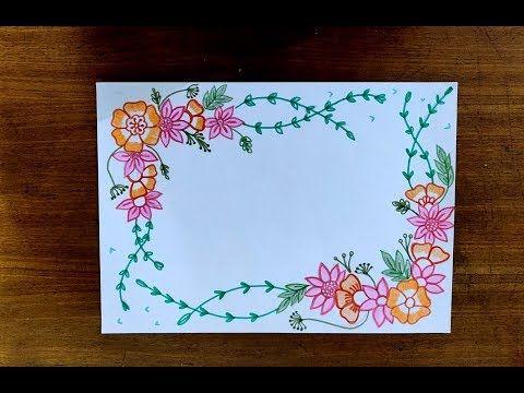 Diy Sketch Pens Simple Easy Decorative Border Design For Project File Back To School 440 Flower Drawing Design Page Borders Design Paper Art Design