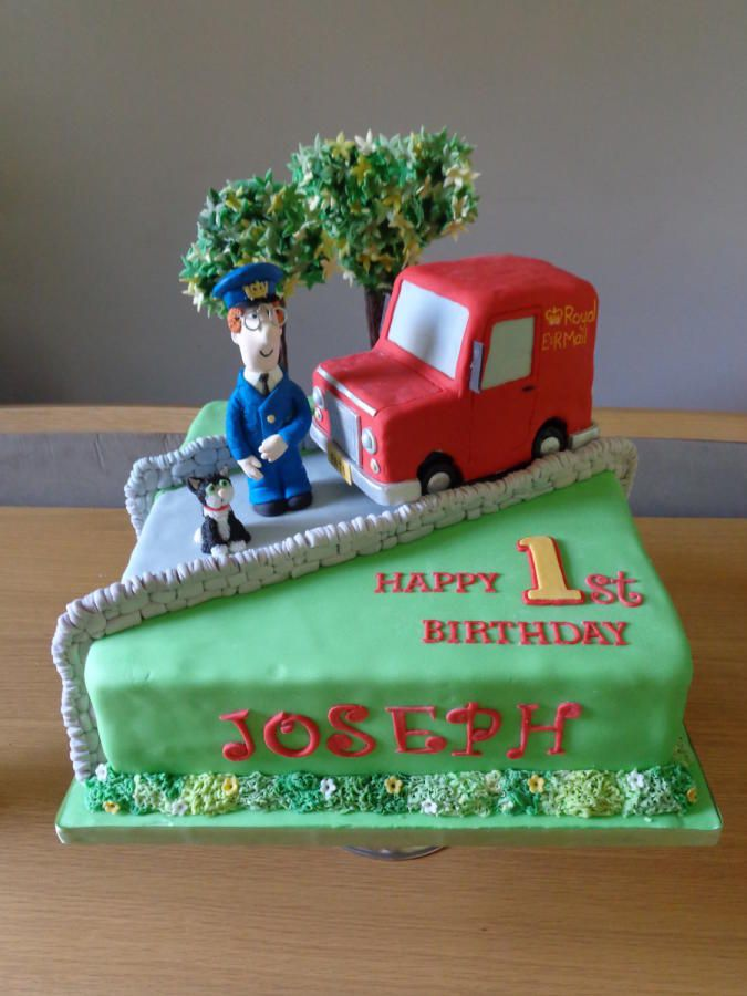 Postman Pat, Jess the cat and his van, this cake is 100% edible apart from the glasses. chocolate cake with milk chocolate ganache, figures were a mix of modelling chocolate and fondant, the van i made out of cereal treats, covered in fondant....