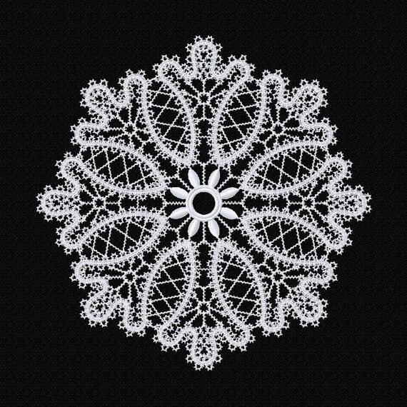 FSL Freestanding lace doily machine embroidery by EmbroideryByLada
