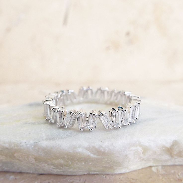 Unique Baguette Wedding Band White Gold Plated Stacking