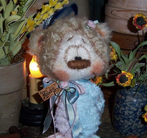"""Primitive Raggedy Teddy Cub Shabby Bear 6"""" Chic Doll ★ Vtg Patti's Ratties Ornie   eBay"""