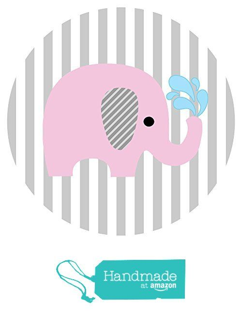 Baby Elephant Stickers In Pink And Grey Stripes   Label Party Favors For  Baby Girl Shower