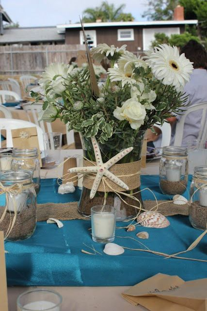 Beach themed centerpiece for a wedding