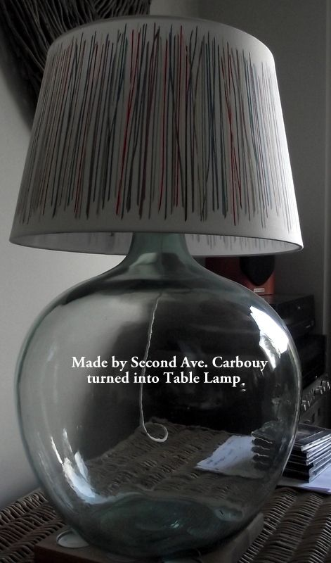 Another keeper for the moment made this glass carbuoy into a lamp using Ikea lamp fitting and Shade - love it
