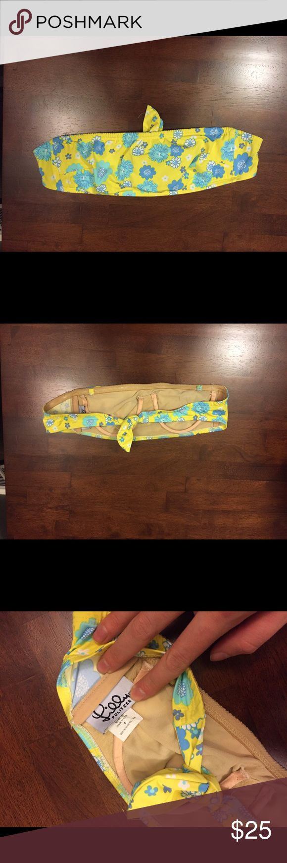 Lilly Pulitzer Blue Yellow Floral Bikini Top Tube Excellent condition! Thank you for looking! Strapless bikini bandeau  #ygwyt002 Lilly Pulitzer Swim Bikinis