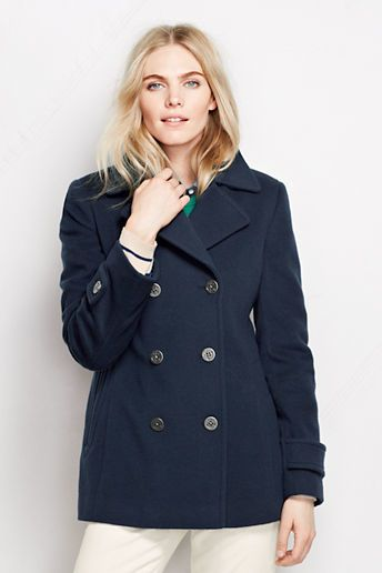$199, Navy Pea Coat: Lands' End Luxe Wool Peacoat. Sold by Lands' End. Click for more info: https://lookastic.com/women/shop_items/136650/redirect