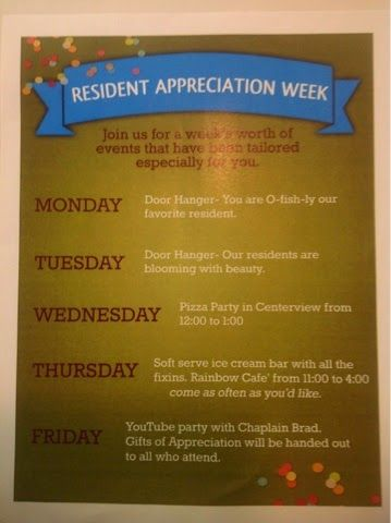 Activity Director Craft Event Ideas Resident Appreciation Week September 15 19