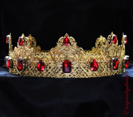 Mens Imperial Medieval Gold Red Rhinestones King Crown Male Crown, Baroque Crown #Handmade #HatsHeadwear