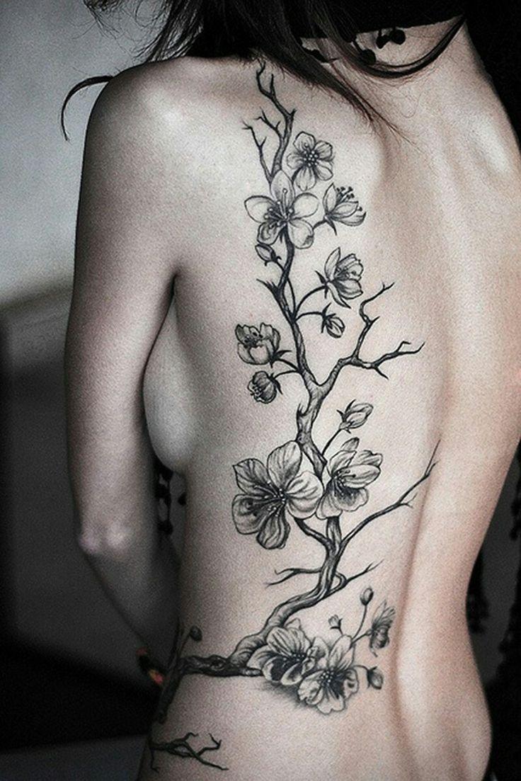 Black and white cherry blossom tattoo