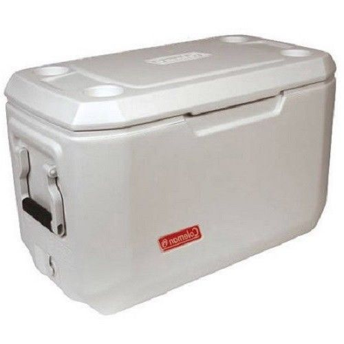 White Marine Cooler 70 Quart Lid Seat 100 Can Ice Chest Food Drinks Cup Holders  #Coleman
