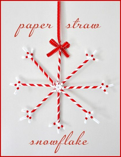 Paper Straw Snowflake by centastionalgirl #Paper_Straw #Snowflake #Crafts #DIY centsationalgirl