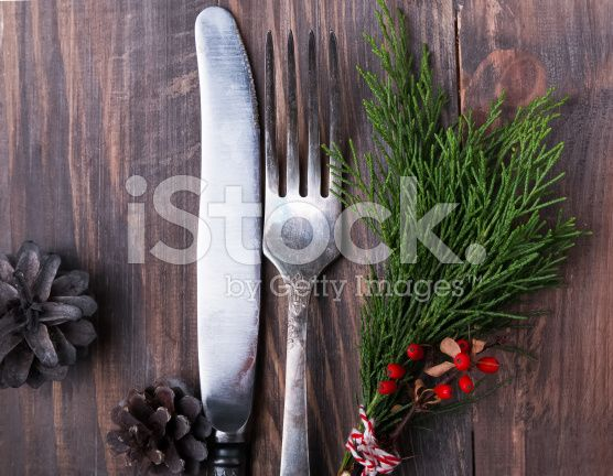 Christmas decor, knife and fork royalty-free stock photo