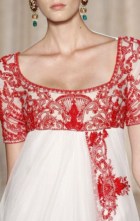 Marchesa, Spring 2013. empire waist  a wide scoop neck - my most favourite look IN THE WORLD.