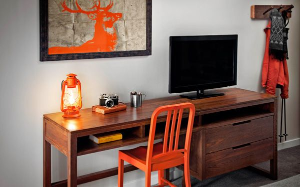 Basecamp Hotel, South Lake Tahoe, California . . . love the deer print on the wall (painted on atlas pages).