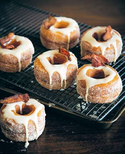 Maple-glazed bacon 'dossants' with salted caramel filling.