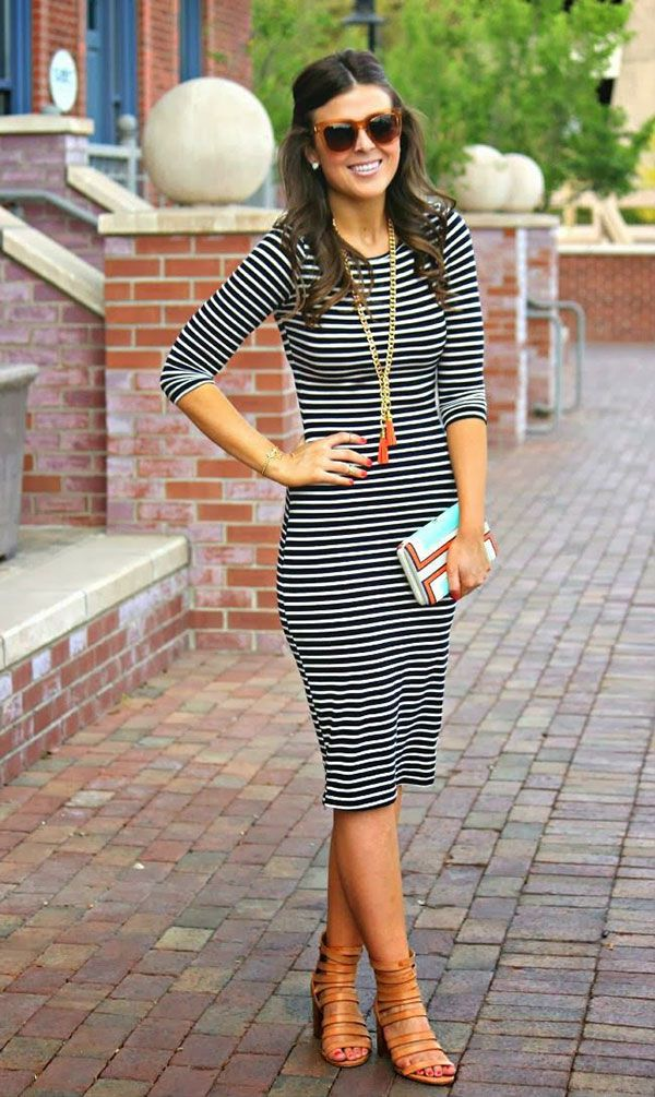 20 style tips on how to wear a striped dress