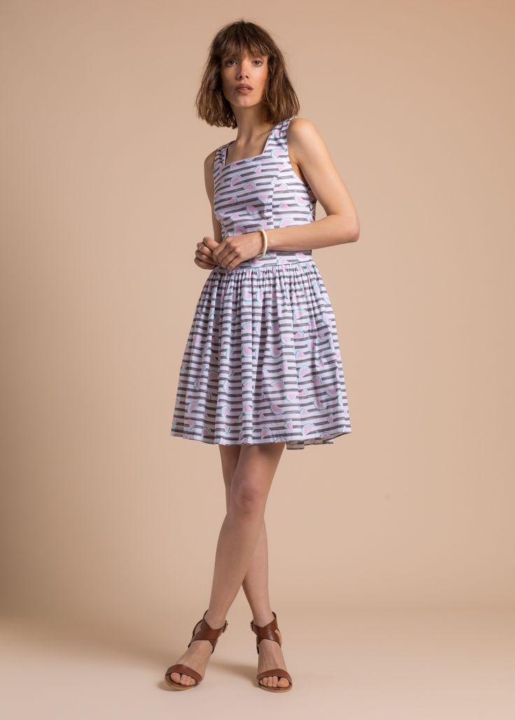 Collection PE 17 | La petite étoile robe patineuse à print et bretelles chic casual wear  casual chic