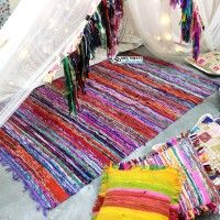 Cheap Rag Rug for sale Color - Multicolor Materials - Old fabrics Handmade with love in India Ships worldwide from India
