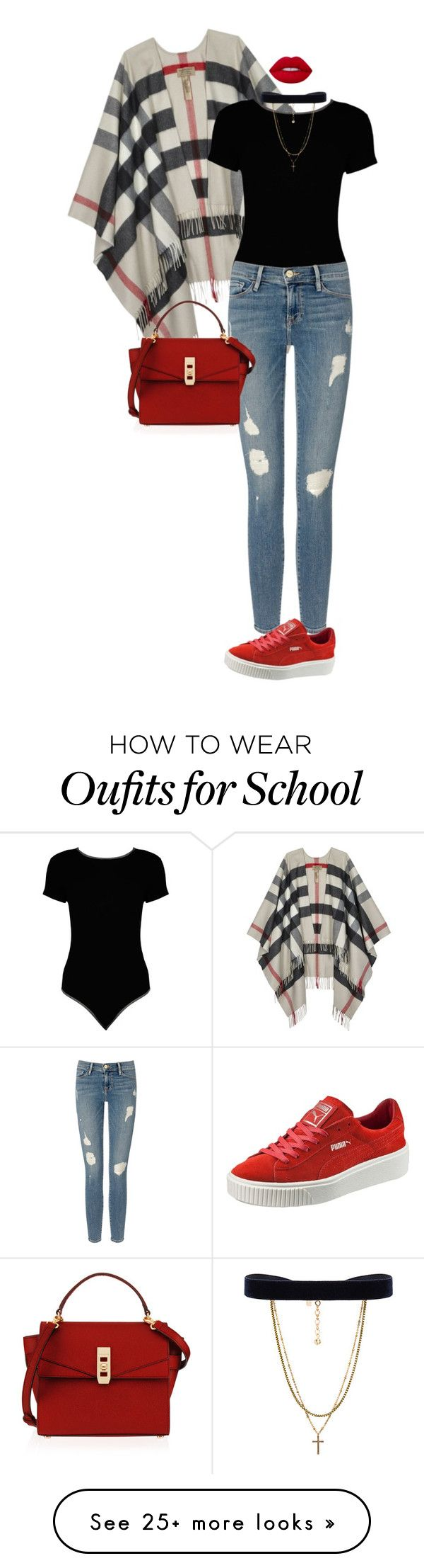 """School Girl."" by ms-ashmarie on Polyvore featuring Burberry, Boohoo, Frame Denim, Puma, Henri Bendel, Vanessa Mooney and Lime Crime"