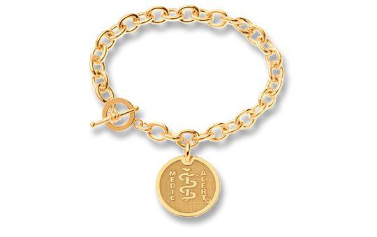 9ct Gold Charm Cable-Link Bracelet - Small Emblem   Australia MedicAlert Foundation  #medicalert #medical_ID #medical_bracelet #safety #charm