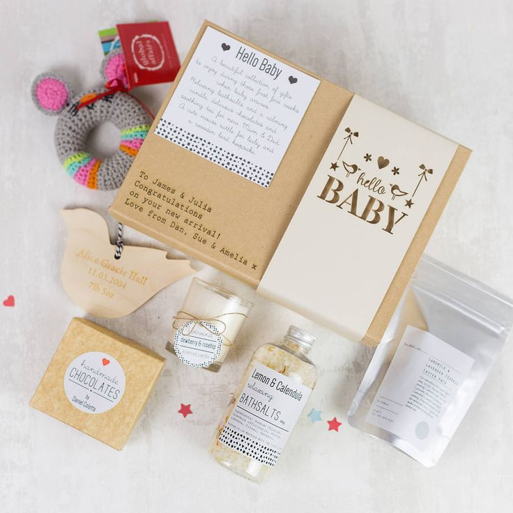 18 best baby hampers images on pinterest gift baskets gift hello baby personalised gift box negle Image collections