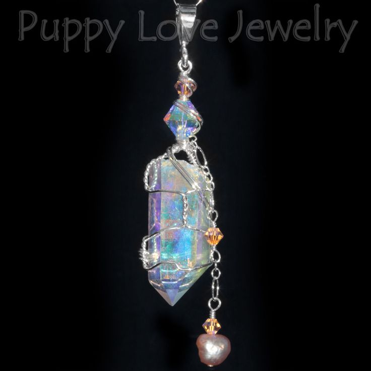252 best healing crystal pendants images on pinterest wire angel aura quartz also called opal aura quartz is created when a dichroic finish is alchemized to the surface of a clear quartz crystal giving it a aloadofball Image collections