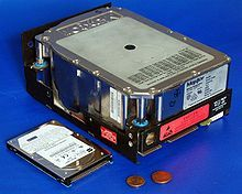 A newer 2.5-inch (63.5 mm) 6,495 MB HDD compared to an older 5.25-inch full-height 110 MB HDD