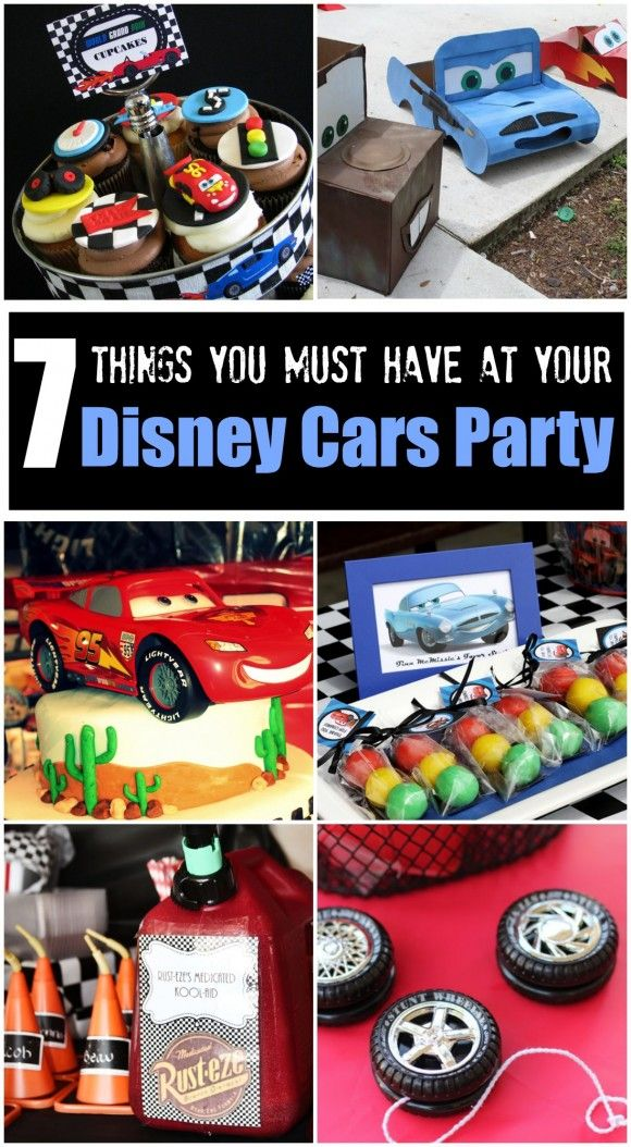 7 things you must have at your Disney Cars birthday party, including birthday cake, favor, cupcake and activity ideas! See more party ideas at CatchMyParty.com. #disneycars #partyideas