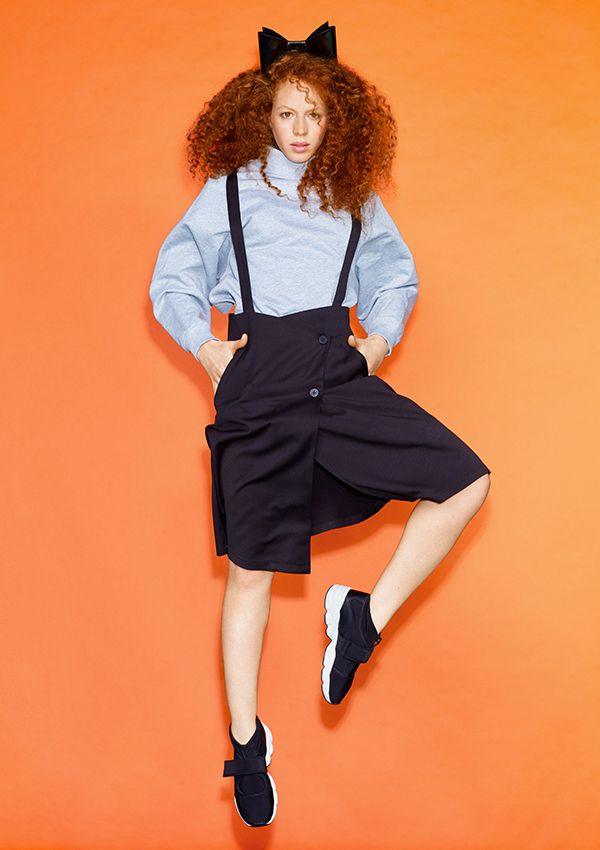 A mega lovely suspender skirt with a subtle A-line shape to it.