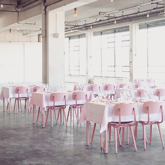 love the pink chairs in this industrial space! // Restaurant Citroen | Amsterdam