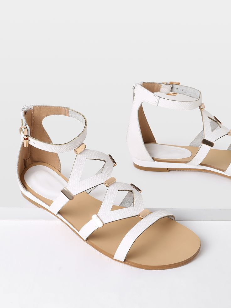 Shop Metal Detail Cut Out Flat Sandals online. SheIn offers Metal Detail Cut Out Flat Sandals & more to fit your fashionable needs.