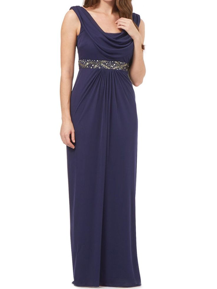 NEW DEBUT BLUE PRIYA COWL NECK MAXI DRESS EVENING COCKTAIL DRESS RRP £130