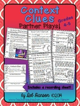 Partner Plays: Context Clues - five scripts for 4th & 5th grade readers- this set contains a supplemental activity! $