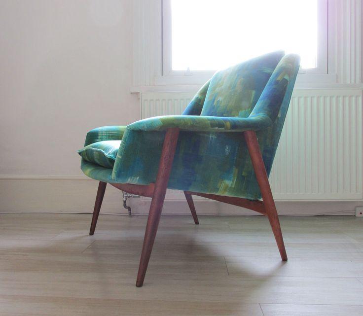 Teak Vintage Fabric Armchair 50 S Liberty Heals Danish Era
