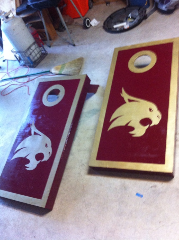 Texas State Bobcats cornhole boards