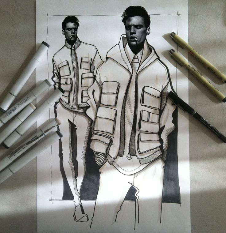 collague. Givenchy Spring 2015 Menswear - Illustration by Paul Keng