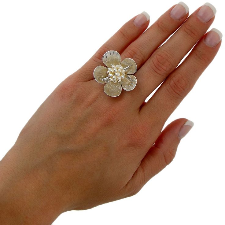 Handmade rhodium plated sterling silver ring with pearls