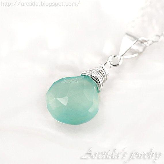 Mint jewelry Mint necklace aqua blue Chalcedony necklace sterling silver - spring wedding women fashion pastel blue rusteam ohtteam - Elenia...