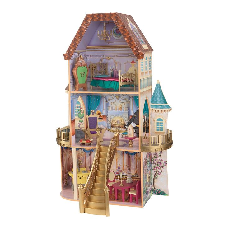 KidKraft's Belle Enchanted Dollhouse is home to Beauty and The Beast princess…