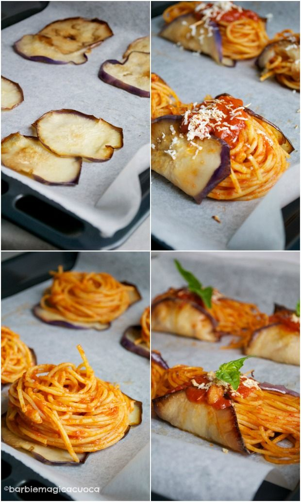Pasta alla norma fashion: nidi di spaghetti alla norma avvolti nelle melanzane
