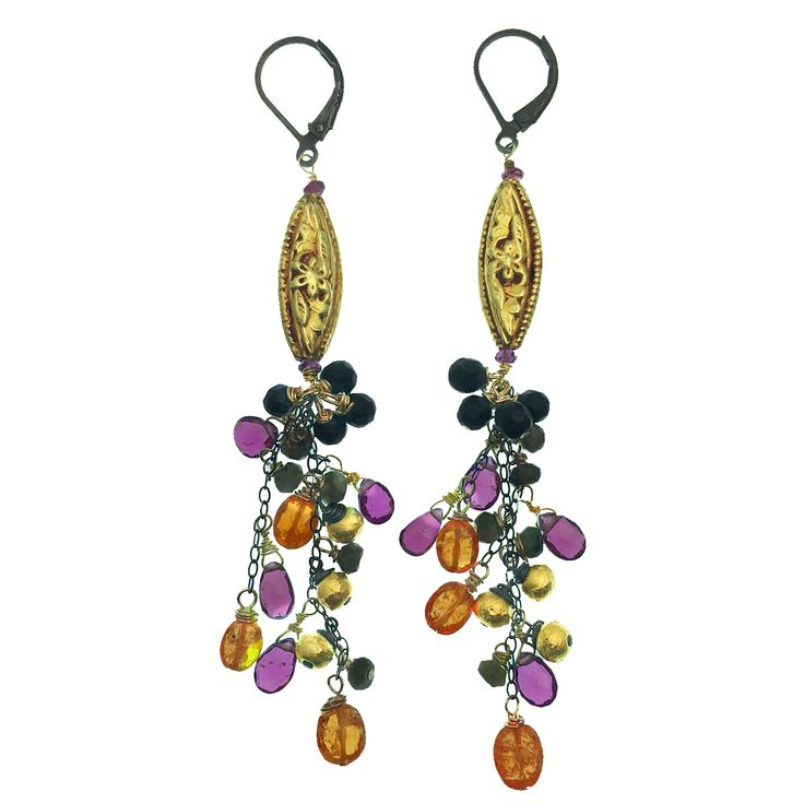 Orange and Purple Garnets, Cat's Eye, Oxidized Sterling Silver and Skanda's Exclusive 18K Gold Beads!