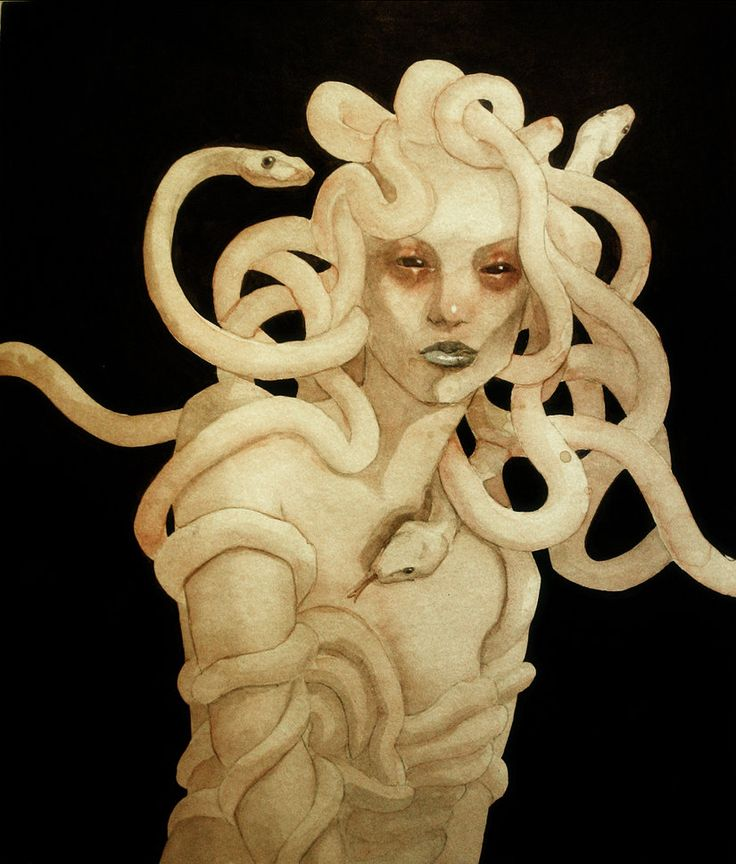 Gorgon  An ancient greek entity who's image was used to scare evil spirits away