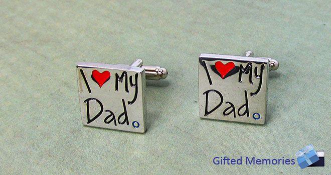 Mens Cufflinks - I Love My Dad.  Find it at www.giftedmemoriesjewellery.com.au