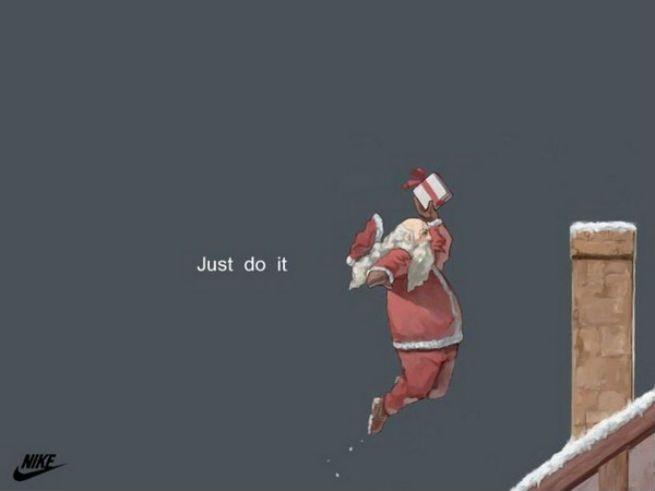 皆さんご存知NIKEの広告。 サンタクロースが煙突にプレゼントをダンクするというなんとも躍動感溢れる広告