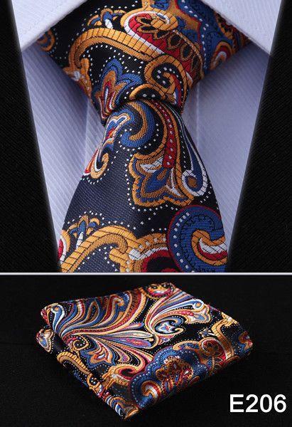 "Check Dot Paisley 2.75"" 100%Silk Woven Slim Skinny Narrow Men Tie Necktie Handkerchief Pocket Square Suit Set #E2"
