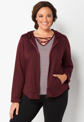 Relaxed Restyled Cinch Back Plus Size Zip Up Hoodie